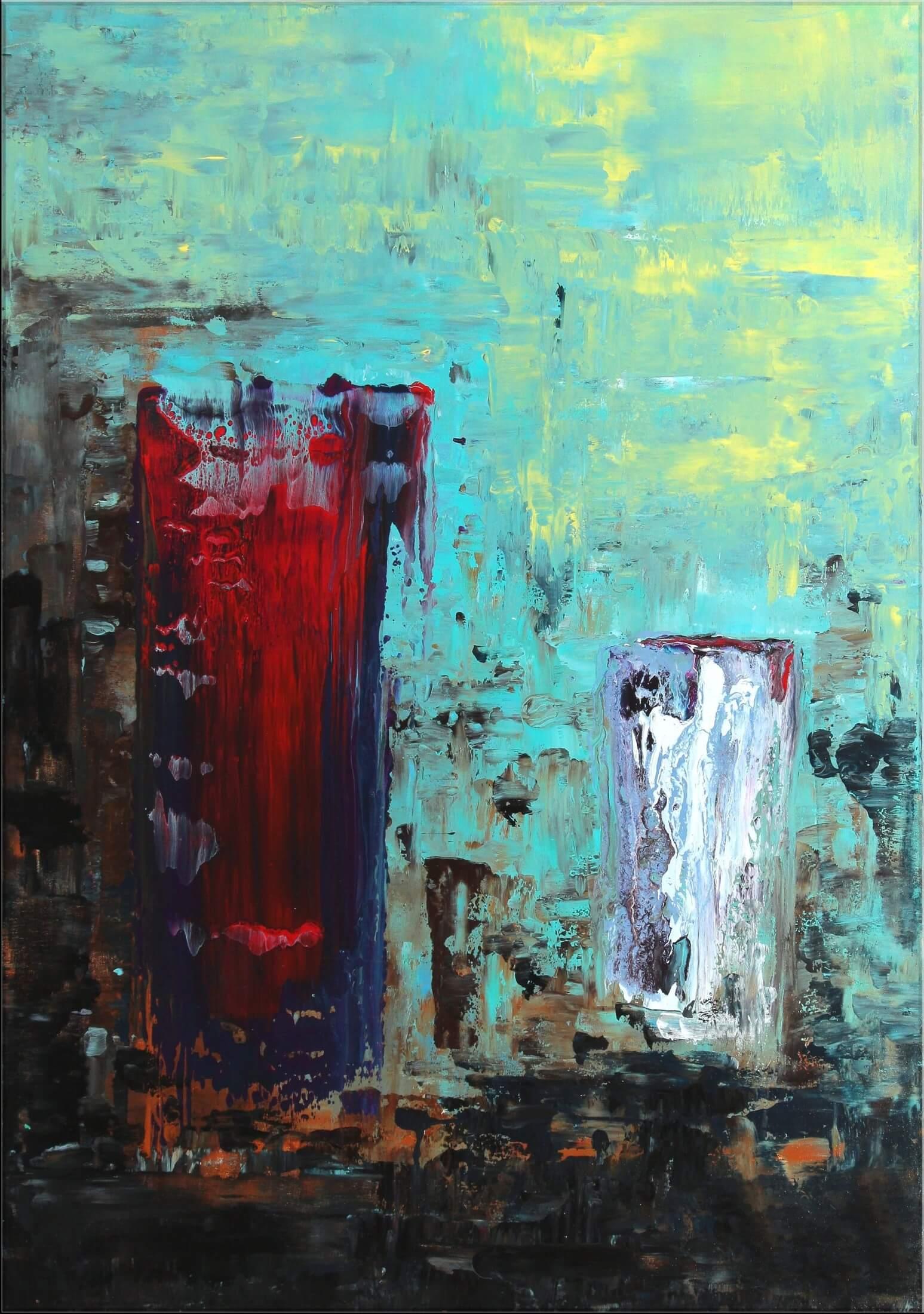 Original Gemälde von Noah de Jong Wie Feuer und Eis